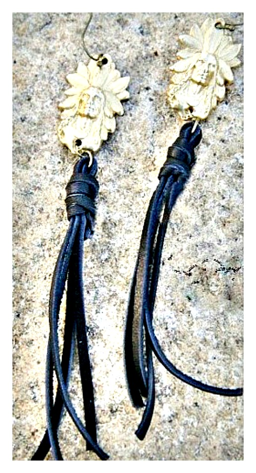 COWGIRL GYPSY EARRINGS Gold Indian Chief with Long Black Leather Tassels Western Earrings