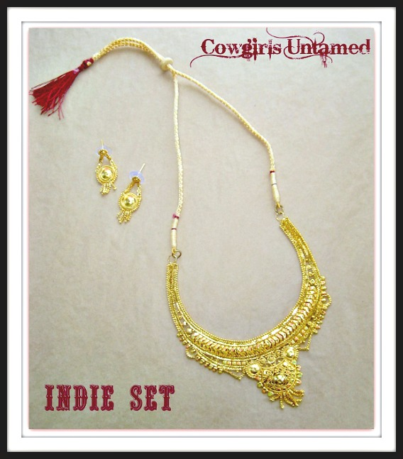 COWGIRL GYPSY NECKLACE SET Gold Filigree Necklace & Fringe Earring Set