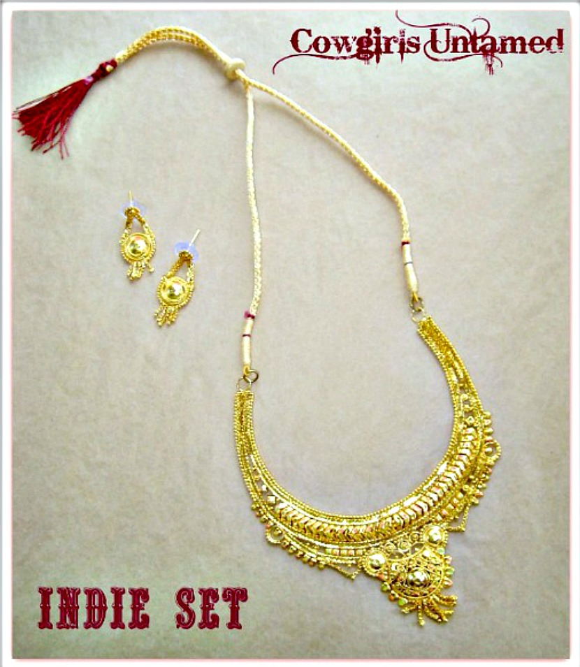 BOHO CHIC NECKLACE SET Gold Filigree & Burgundy Necklace & Fringe Earring Set LAST ONE