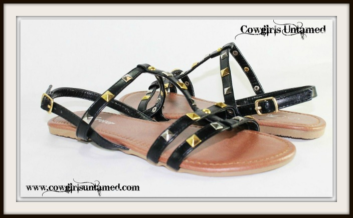 BOHO CHIC SHOES Gold N Silver Studded Black Leather Gladiator Sandals