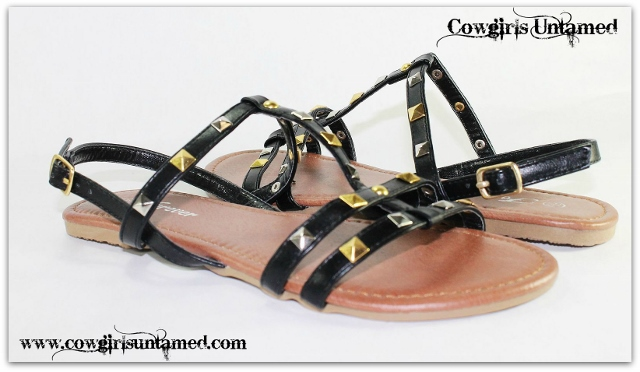 COWGIRL GYPSY SHOES Gold N Silver Studded Black Leather Gladiator Sandals