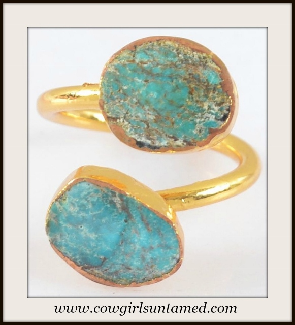 COWGIRL GYPSY RING Genuine Turquoise N Gold Plated Boho Ring