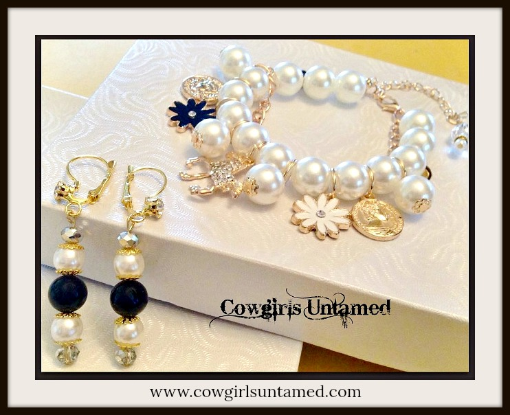 COWGIRL GLAM BRACELET SET White Pearl Rhinestone Gold Horse Charms Bracelet Set