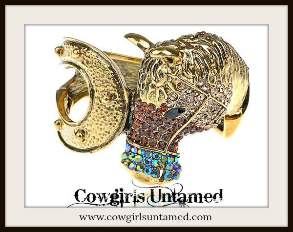HORSE LOVIN' COWGIRL CUFF Brown Rhinestone Horse on Golden Horseshoe Western Cuff Bracelet