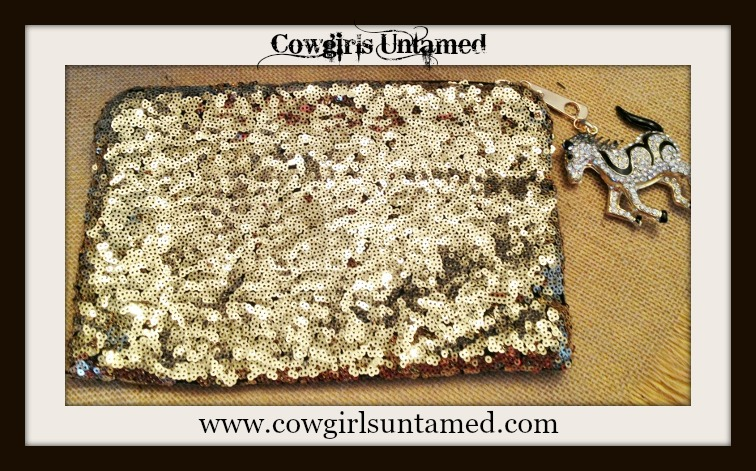 COWGIRL GLAM PURSE Metallic Gold Sequin Clutch Purse with Rhinestone and Black Enamel Horse Charm Zipper Pull