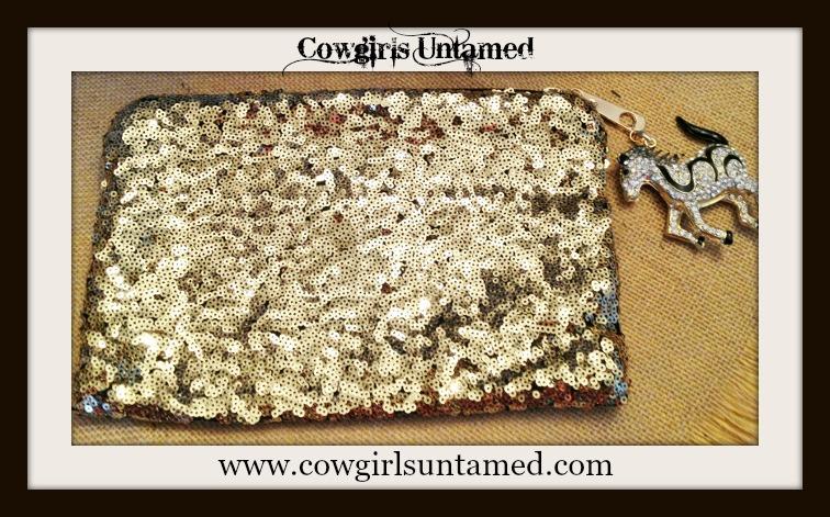 COWGIRL GLAM PURSE Metallic Gold Sequin Clutch Purse with Rhinestone and Black Enamel Horse Charm Zipper Pull
