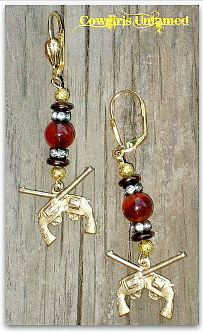 COWGIRL OUTLAW EARRINGS Gold Sixshooter Pistol Charm on Brown Agate  Long Western Earrings