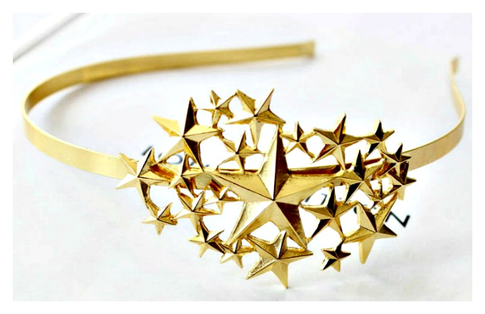 TOUCH OF GLAM HEADBAND Starry Night Gold Tone Multi Star Metal Western Head Band Jewelry