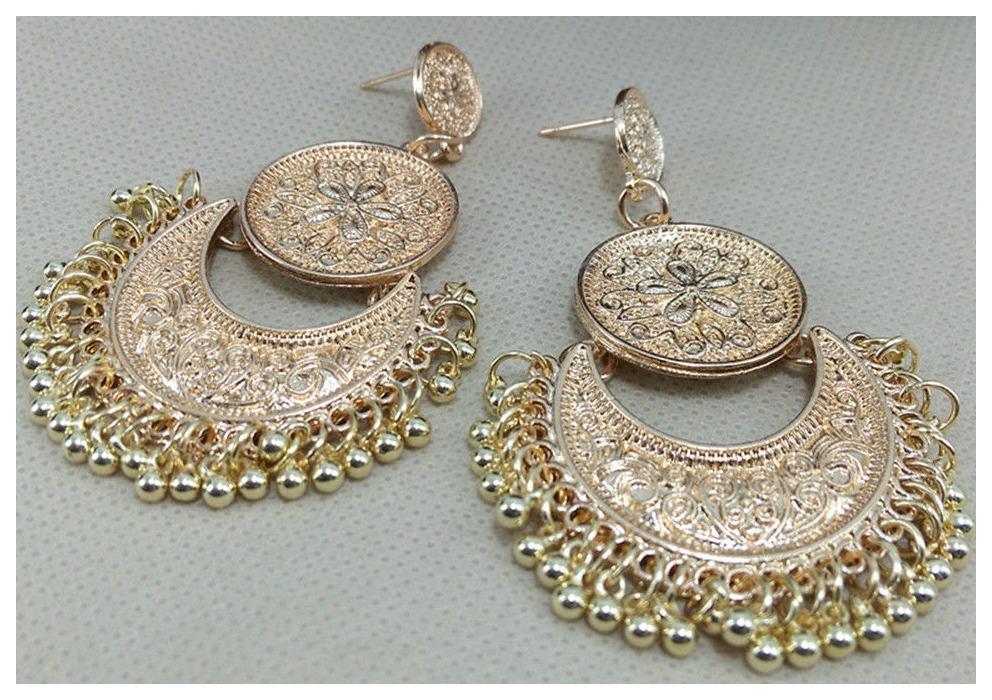 GYPSY EARRINGS Vintage Gold Coin Tassel Festival Earrings