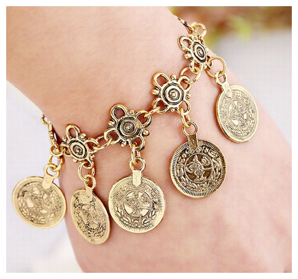 COWGIRL GYPSY COIN JEWELRY Antique Gold Cross and Coin Charm Festival Bracelet