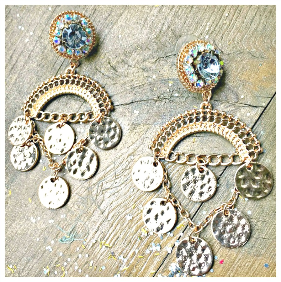 COWGIRL GYPSY EARRINGS Gold Coin Charm N Rhinestone Chandelier Earrings
