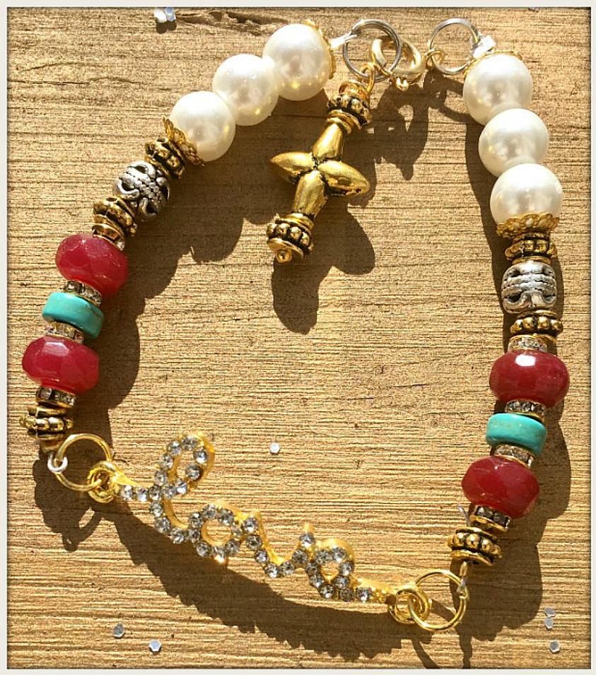 "COWGIRL GYPSY BRACELET Rhinestone ""Love"" on Gold Silver Turquoise & Ruby Pearl Bracelet"