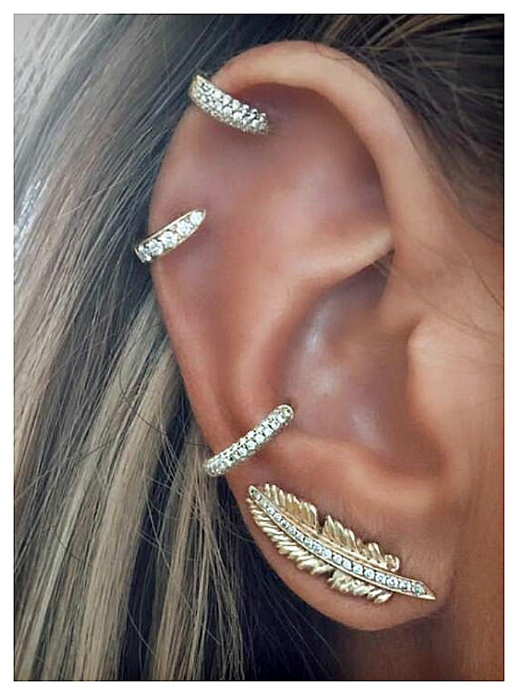 BOHEMIAN COWGIRL EARRINGS Golden Rhinestone Pierced Feather Hoop Cuff Earring Set of 4