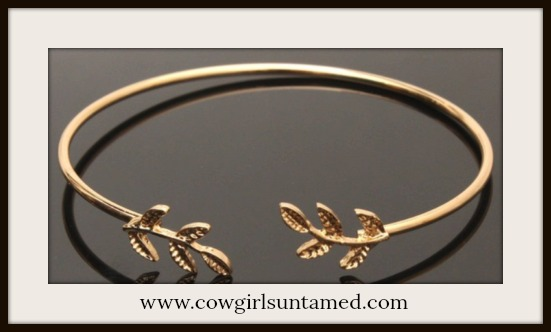 BOHEMIAN COWGIRL BRACELET Golden Leaf Adjustable Bracelet