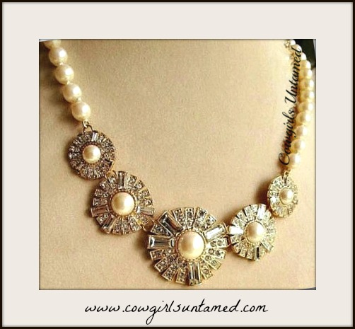 COWGIRL GLAM NECKLACE Faux Pearl & Flower Rhinestone Bib Necklace