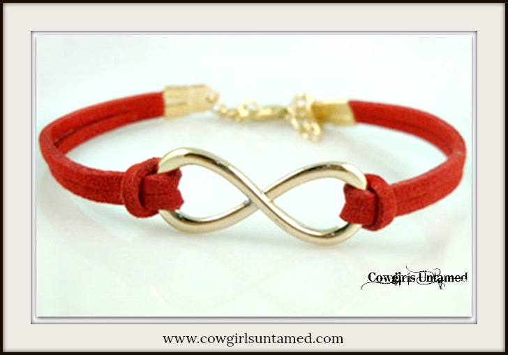 CHRISTIAN COWGIRL BRACELET Red Leather & Silver Infinity Charm Western Bracelet