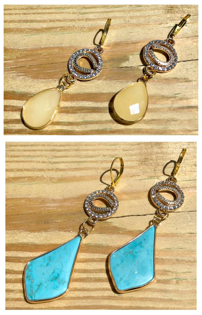 LUCKY IN LOVE EARRINGS Custom Gold Rhinestone Horseshoe Gemstone Dangle Earrings - 2 Styles