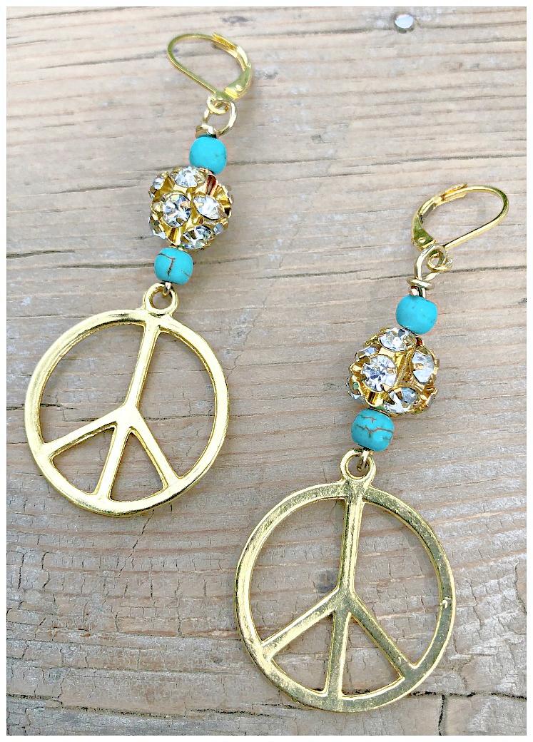 HIPPIE CHIC EARRINGS Handmade Turquoise Rhinestone Beaded Gold Peace Dangle Earrings