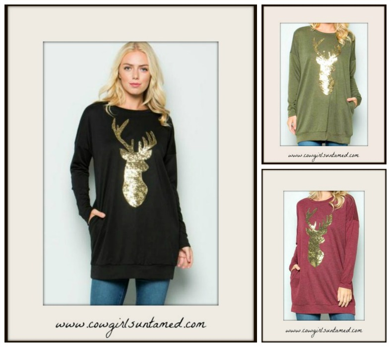 COWGIRL STYLE TOP Gold Sequin Deer Long Sleeve Tunic Pullover w/ Pockets3 COLORS!