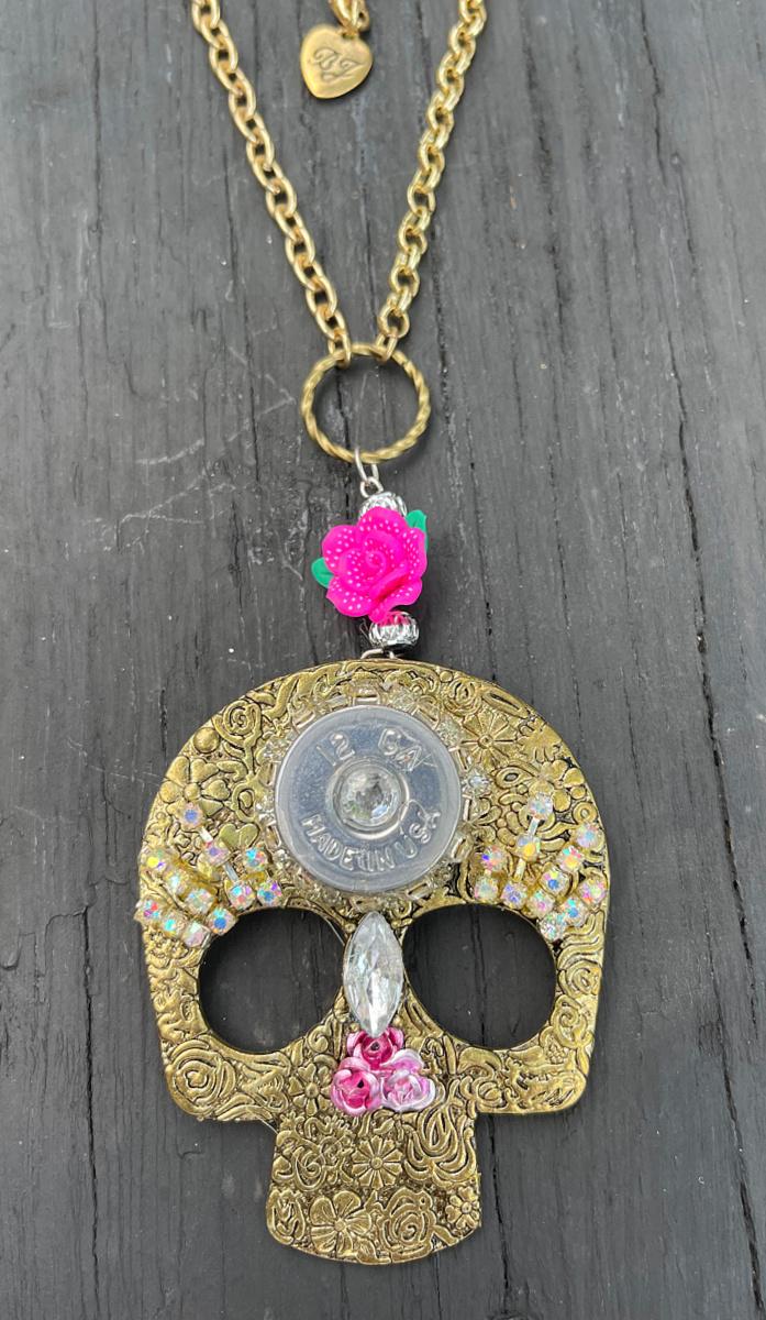 REBEL SOUL NECKLACE Handmade 12 Gauge Shotgun Rhinestone Trim Bullet Pink Flower Antique Bronze Floral Embossed Skull Necklace