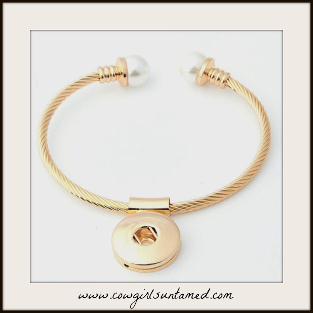 GOING GLAM BRACELET Twisted Gold Tone Pearl Ends Noosa Snap Bracelet