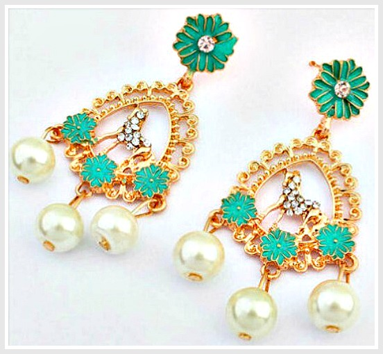 BOHEMIAN COWGIRL EARRINGS Rhinestone Horse Aqua Green Flowers & Pearls Gold Earrings