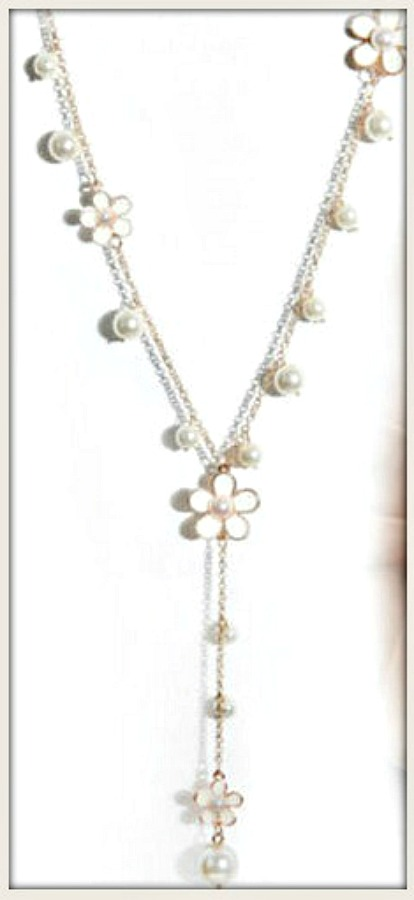 WILDFLOWER NECKLACE White Pearl and Gold Long Pendant Necklace