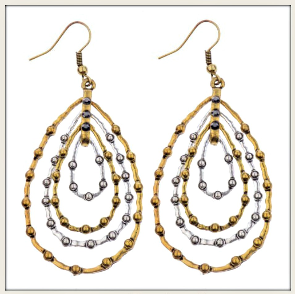 BOHO CHIC EARRINGS Silver and Gold Hoop Earrings