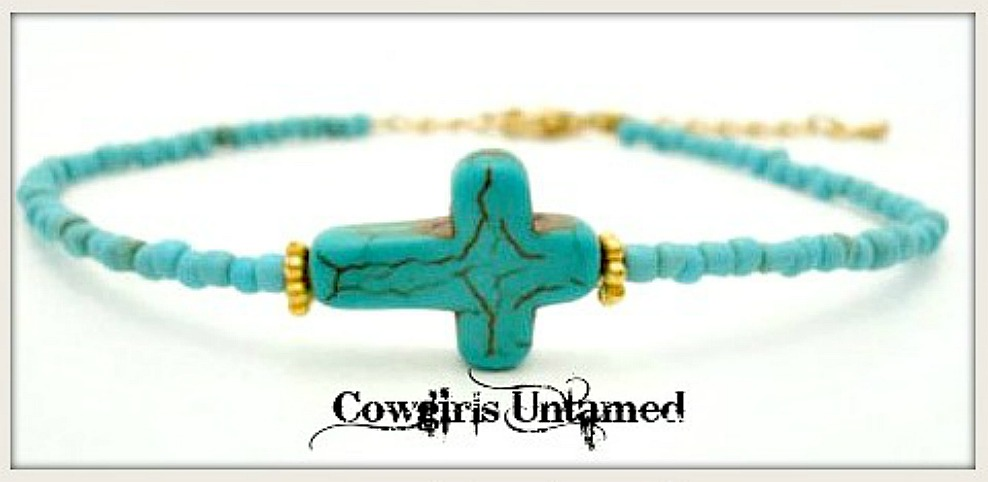CHRISTIAN COWGIRL BRACELET Gold and Turquoise Cross on Beaded Bracelet with Custom Charm