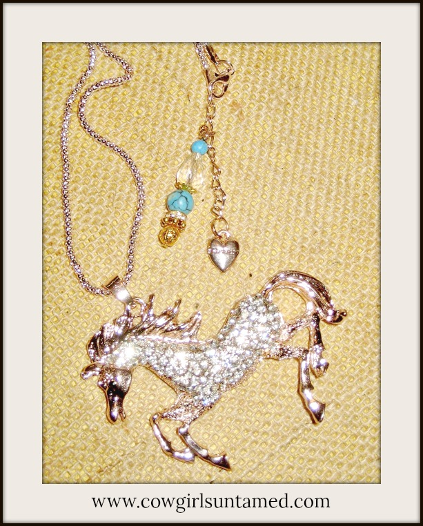HORSE LOVIN' COWGIRL NECKLACE Rhinestone Horse Pendant Turquoise Crystal Charm Long Western Necklace