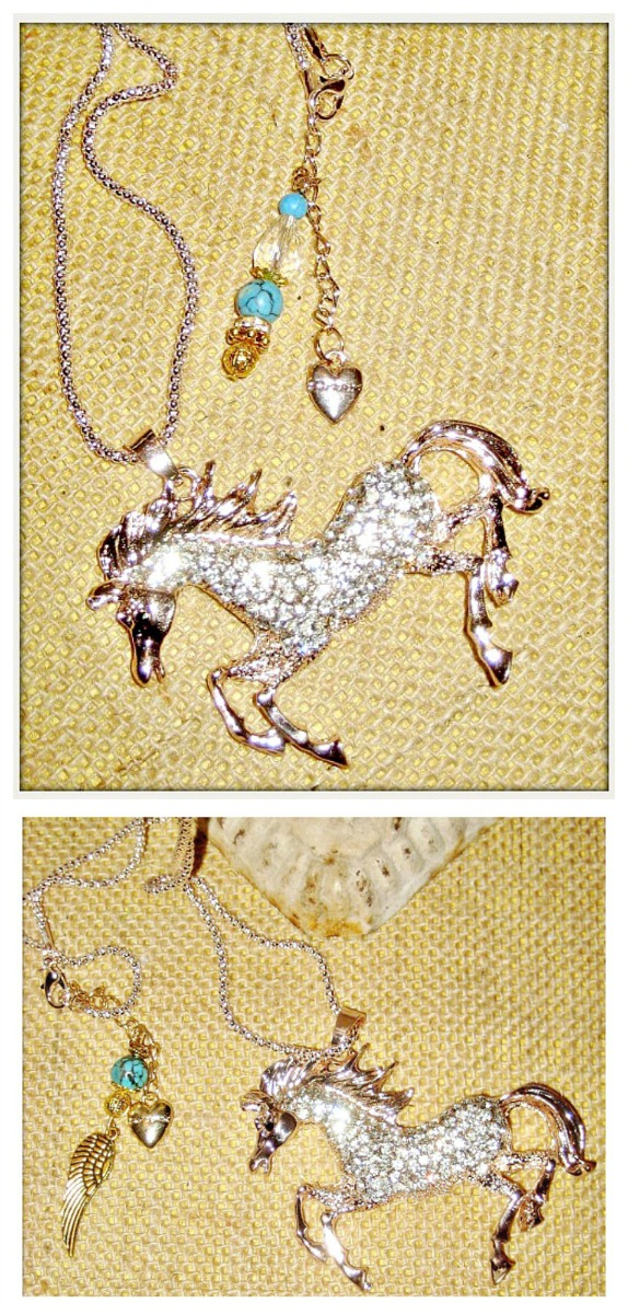 HORSE LOVIN' COWGIRL NECKLACE Custom Rhinestone Horse Pendant Turquoise Crystal Charm Long Western Necklace 2 STYLES