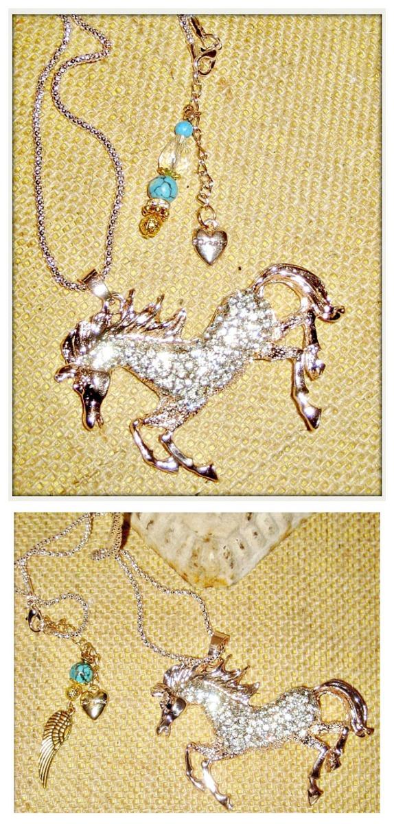 HORSE LOVIN' COWGIRL NECKLACE Custom Rhinestone Horse Pendant Turquoise Crystal Charm Long Western Necklace 2 STYLES