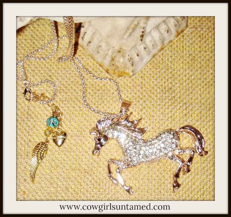 HORSE LOVIN' COWGIRL NECKLACE Large Golden Rhinestone Horse Pendant Turquoise Angel Wing Long Western Necklace