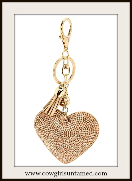 COWGIRL GLAM KEYCHAIN Crystal Heart Leather Tassel and Ball Charm Golden Key Ring