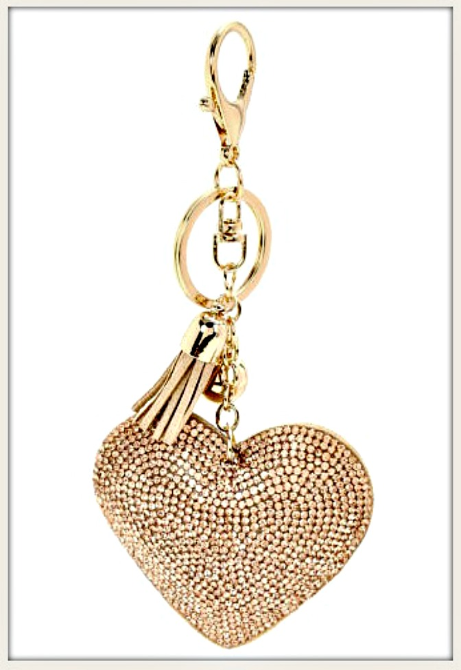 GOING GLAM KEYCHAIN Crystal Heart Leather Tassel and Ball Charm Golden Key Ring