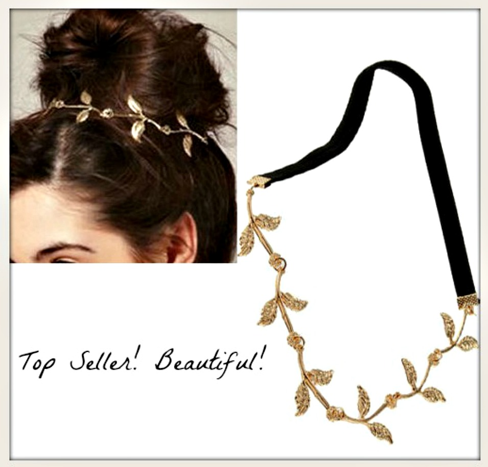 BOHO CHIC HEADBAND Golden Leaves on Black Stretchy Headband