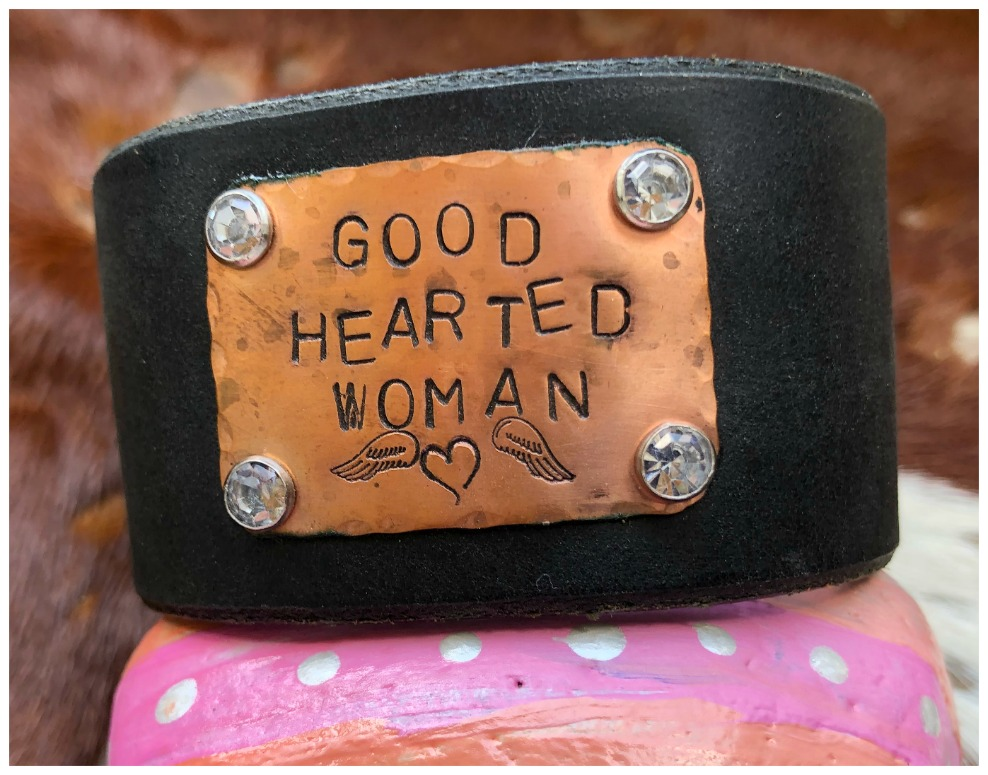 "COWGIRL ATTITUDE CUFF ""Good Hearted Woman"" Angel Wing Heart Copper Crystal Studded Black Leather Western Cuff Bracelet LAST ONE"