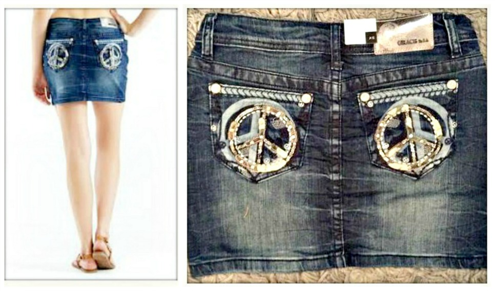 BOHEMIAN COWGIRL SKIRT Sequin Leather Silver Embroidery Peace Sign Designer Jean Mini Skirt