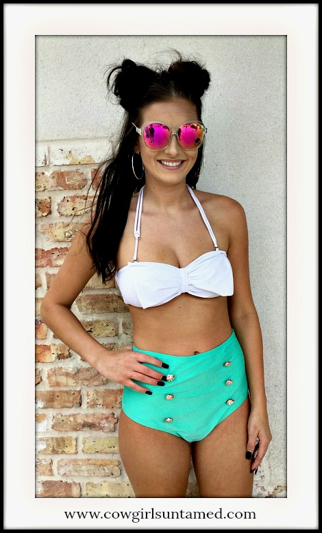 COWGIRL PINUP BIKINI Light Green & White Bow Removeable Strap Top Retro Bikini Set