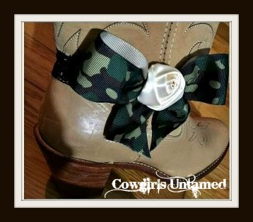 WILDFLOWER BOOT GARTER  Green Camo Bow with Cream Rose on Stretchy Black Lace Boot Jewelry