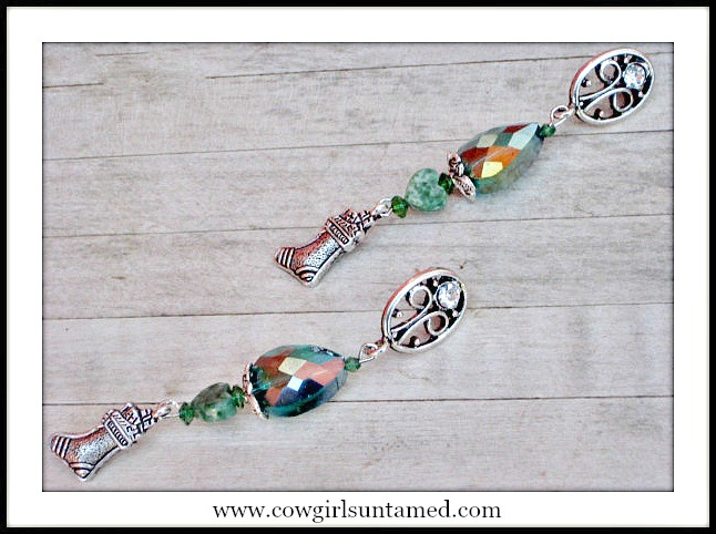 COWGIRL CHRISTMAS EARRINGS Antique Silver Stocking Green Crystal Earrings