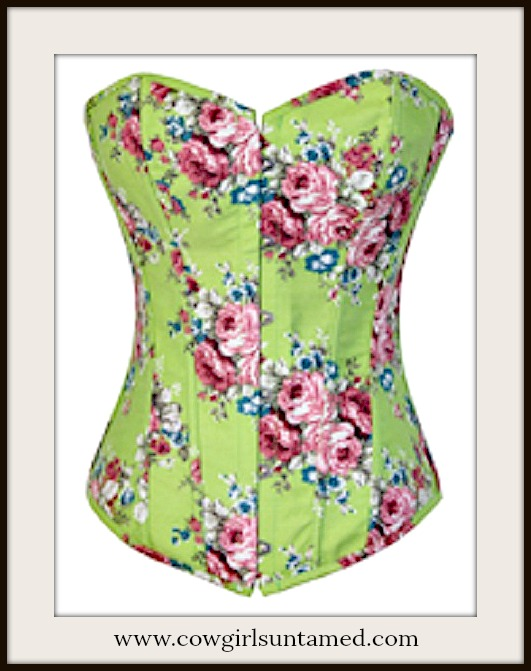 CORSET - Country Green Denim Multi Color Floral Lace Up Western Corset Top Bustier and FREE Thong