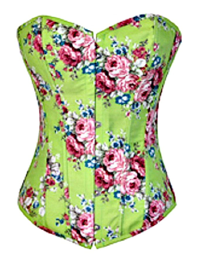 CORSET - Country Green Denim Multi Color Floral Lace Up Corset Top Bustier LAST ONE MEDIUM