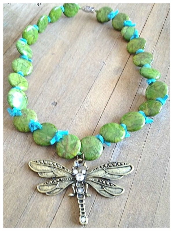 WILDFLOWER NECKLACE Large Antique Bronze and Rhinestone Dargonfly on Green Gemstone and Genuine Suede Necklace