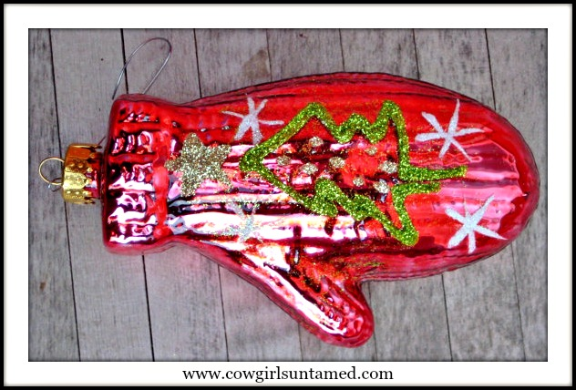 COWGIRL CHRISTMAS DECOR Green N White Glitter Tree N Snowflakes on Red Glass Mitten Western Chrstmas Ornament