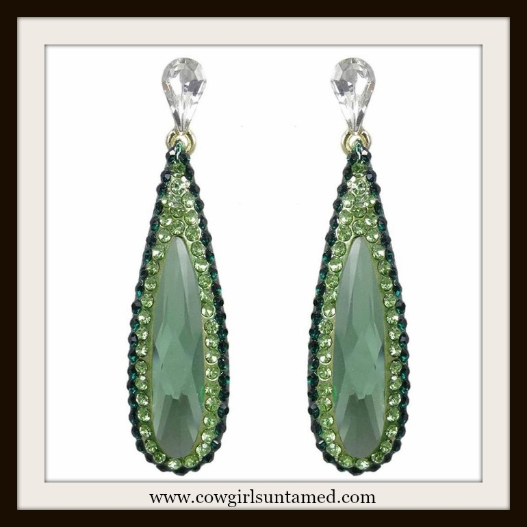 COWGIRL GYPSY EARRINGS Green Rhinestone & Swarovski Crystal Long Duster Earrings