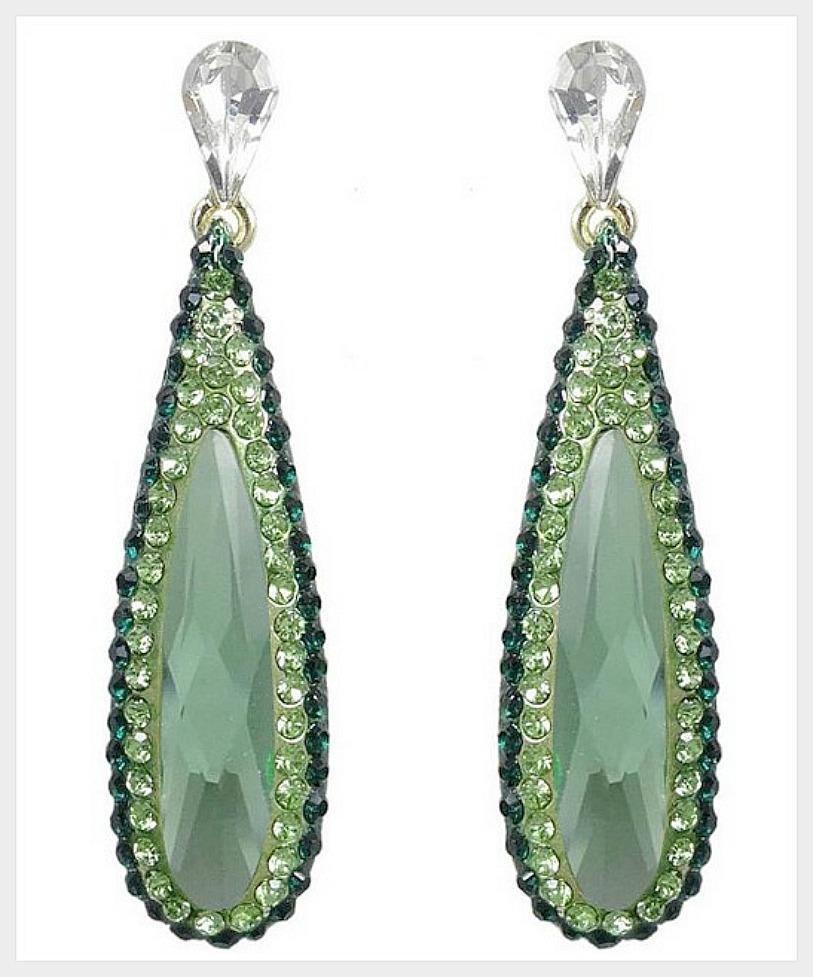 COWGIRL GYPSY EARRINGS Green Rhinestone & Swarovski Crystal Long Duster Earrings