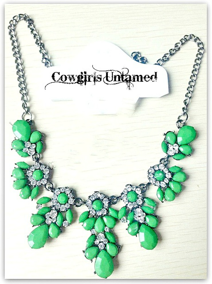 COWGIRL GYPSY NECKLACE Green Stone and Rhinestone Floral Gunmetal Silver Bib Necklace