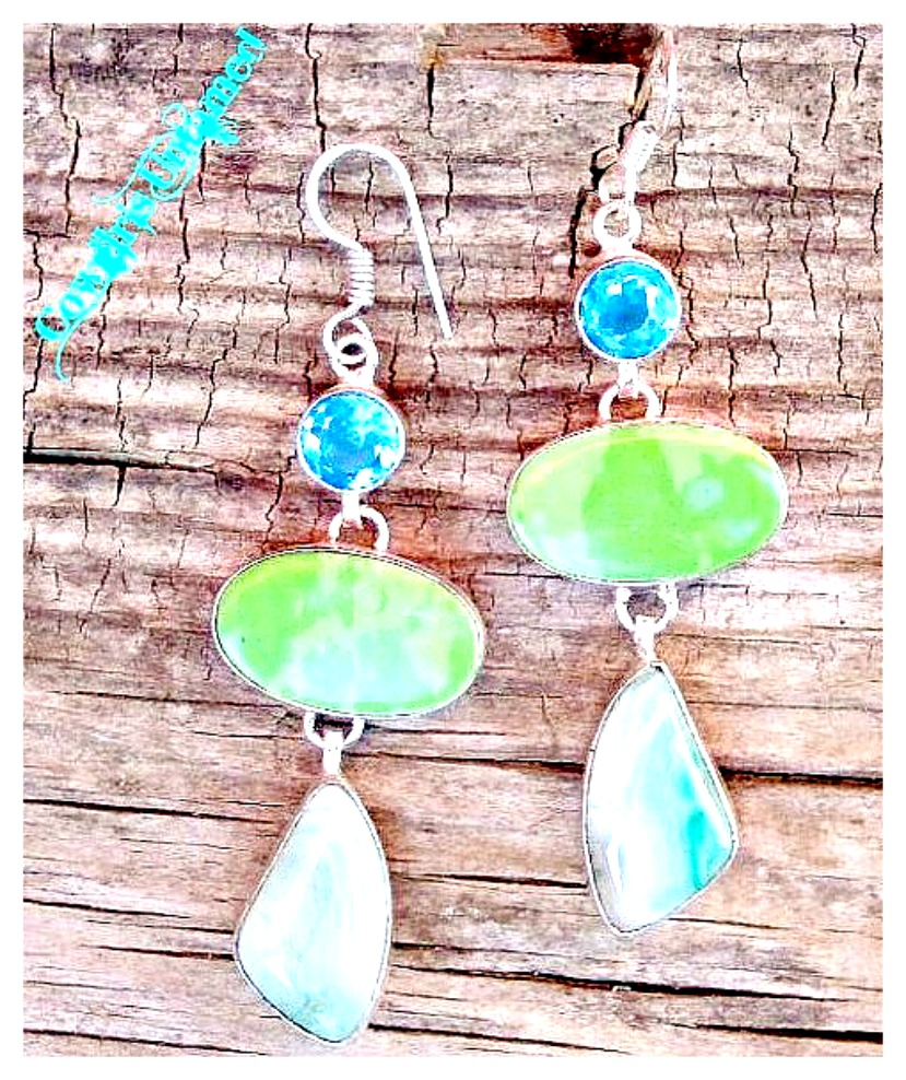 SUMMERTIME EARRINGS Aqua Green Turquoise & Agate with Blue Topaz Gemstones Sterling Silver LONG Western Earrings