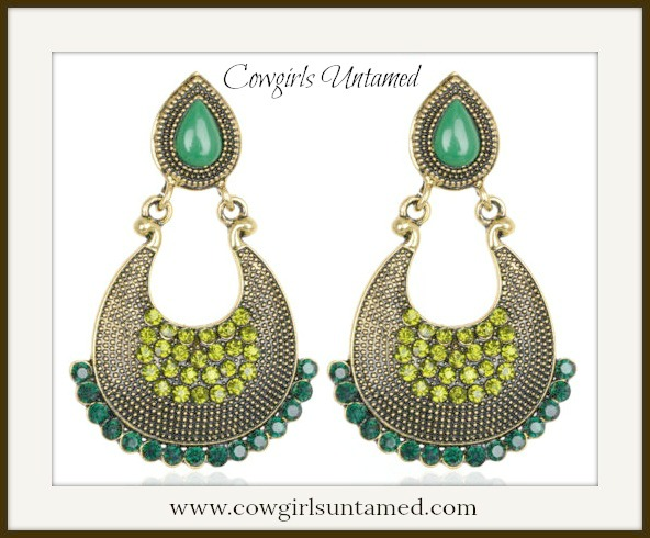 COWGIRL GYPSY EARRINGS Green Vintage Charm Crystal Rhinestone Earrings